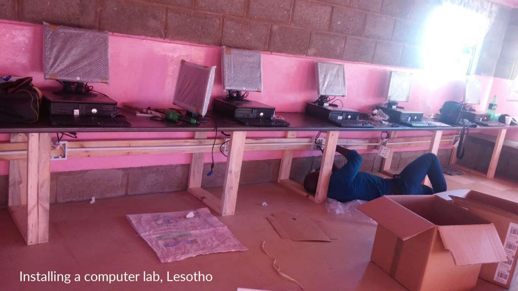 Lan construction, Lesotho, captioned